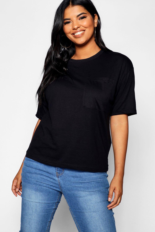 Womens Plus Basic T-Shirt mit einer Tasche - schwarz - 48, Schwarz - Boohoo.com