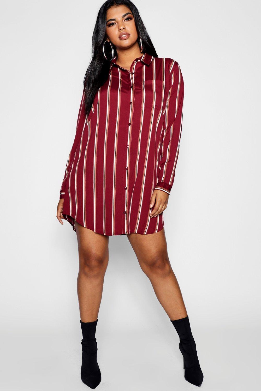 Купить Dresses, Plus Stripe Shirt Dress, boohoo