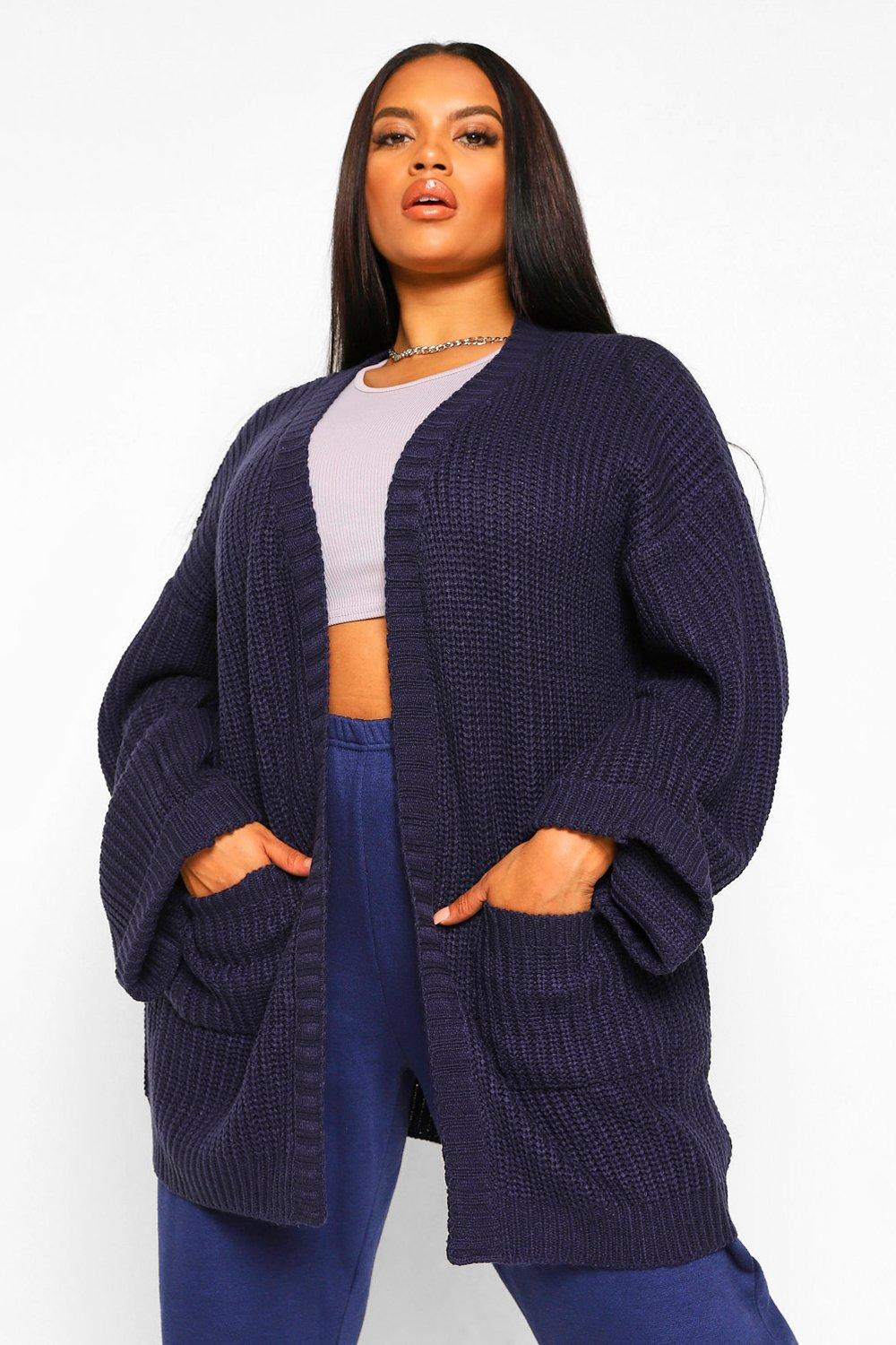 Womens Plus - Oversized Cardigan mit Vordertaschendetail - marineblau - XL, Marineblau - Boohoo.com