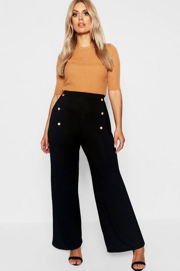 Black Plus Horn Button Wide Leg Jersey Trouser