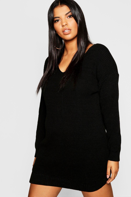Womens Plus Bella Pullover Mini Kleider mit V-Ausschnitt - schwarz - 44, Schwarz - Boohoo.com