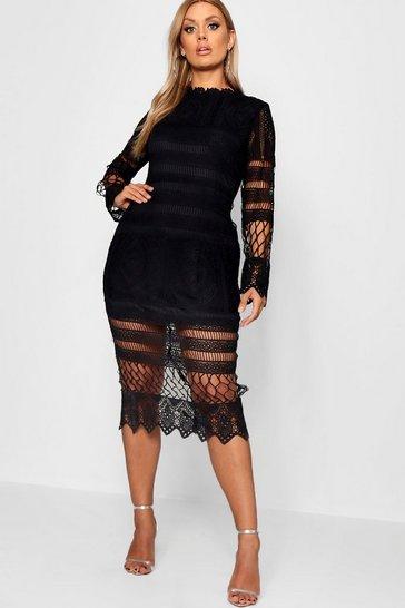 Black Plus Lace Panelled Midi Dress