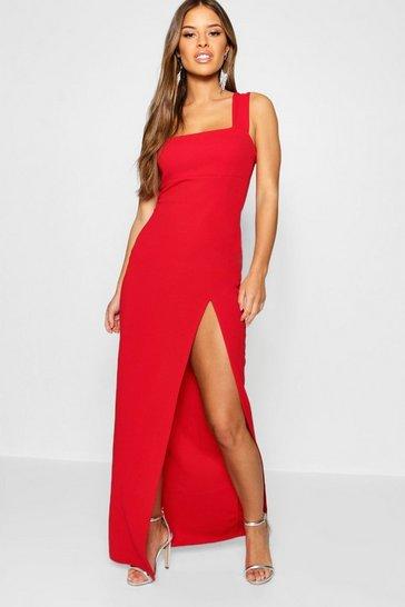 Red Petite Square Neck Split Maxi Dress