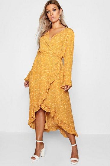 Mustard Plus Wrap Spot Midi Dress