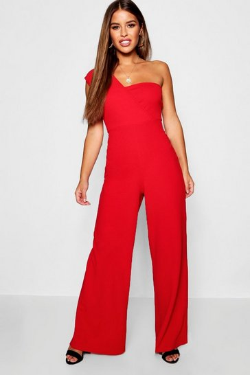 Red Petite One Shoulder Cross Over Jumpsuit
