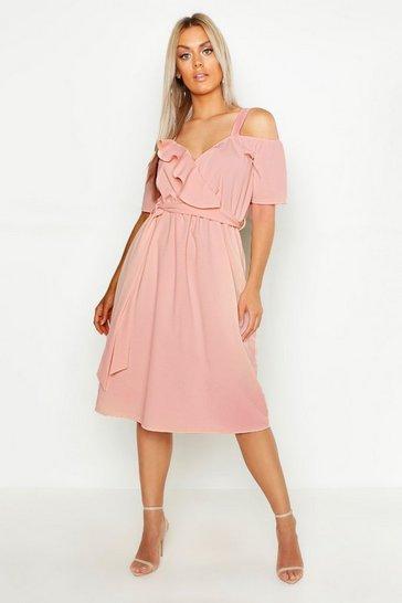 Blush Plus Plunge Ruffle Belt Midi Dress