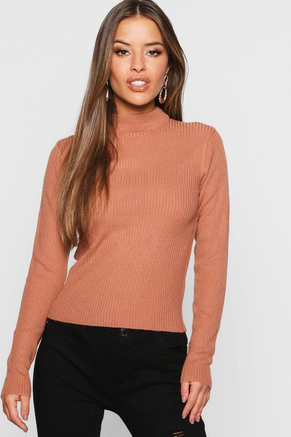 Womens Petite Ribbed Roll Neck Jumper - terracotta - XS, Terracotta - Boohoo.com
