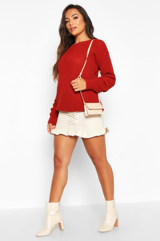 Womens Petite Ivy Oversized Pullover - brick - 30, Brick - Boohoo.com