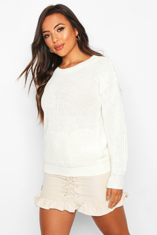 Womens Petite Ivy Oversized Pullover - ecru - 32, Ecru - Boohoo.com