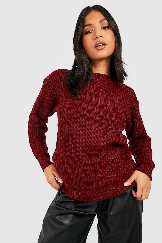 Womens Petite Ivy Oversized Pullover - wine - 38, Wine - Boohoo.com
