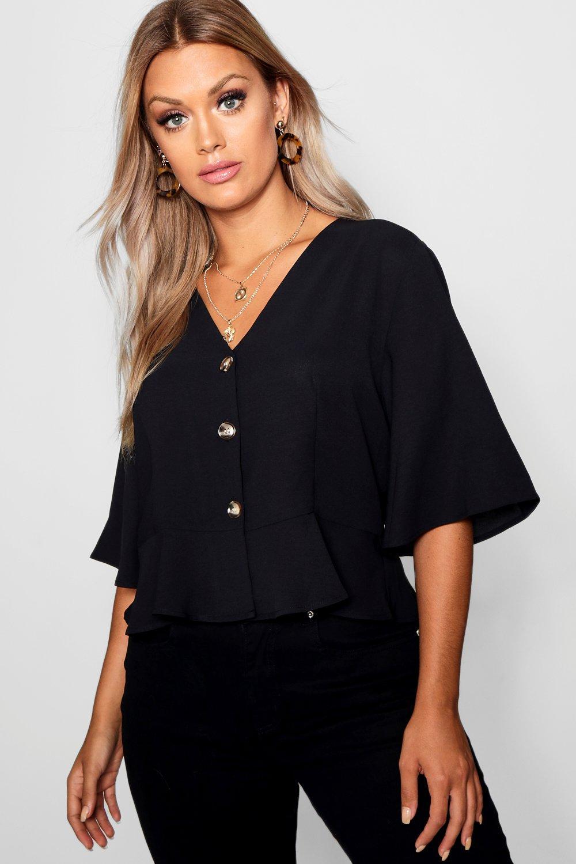 Womens Plus-Size Kurze Bluse mit V-Ausschnitt und Kontrastknöpfen - schwarz - 50, Schwarz - Boohoo.com