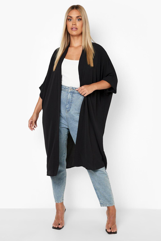 boohoo Womens Plus Woven Longline Kimono - Black - 16, Black