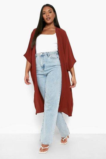 Rust Plus Woven Longline Kimono