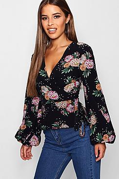 Wickelbluse mit Blumen- und Strar-Print - Boohoo.com