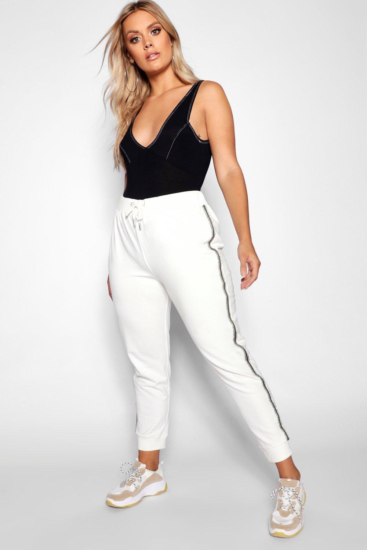 Купить Trousers, Спортивные брюки для бега в полоску, отделанные стразами, из коллекции <Плюс сайз>, boohoo