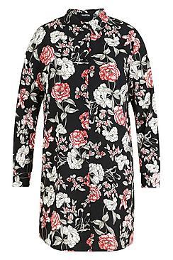 Plus Floral Printed Shirt Dress