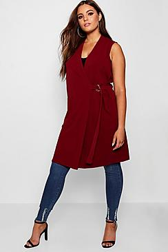 Plus Buckle Sleeveless Duster
