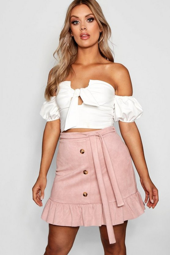 Plus Suedette Horn Button Ruffle Skirt