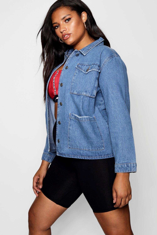 Купить Coats & Jackets, Джинсовая рубашка-жакет из коллекции <Плюс сайз>, boohoo