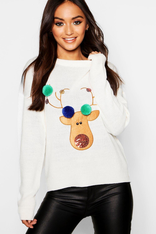 Womens Petite Rentier-Weihnachtspullover mit Pom-Pom - creme - S, Creme - Boohoo.com