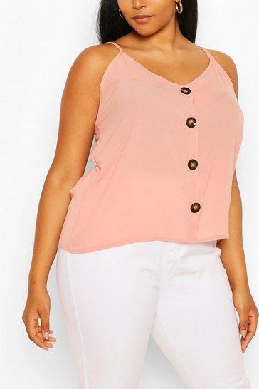 Blush Plus Button Detail Cami