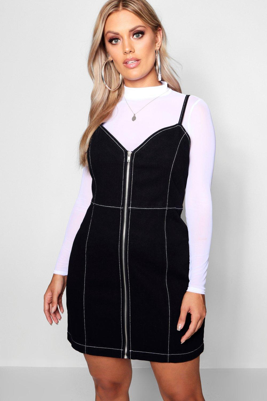 Womens Plus Jeanskleid mit Kontrastnaht - schwarz - 50, Schwarz - Boohoo.com