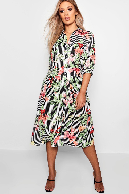 Купить Dresses, Миди-платье рубашка Плюс сайз в полоску с цветочным рисунком, boohoo