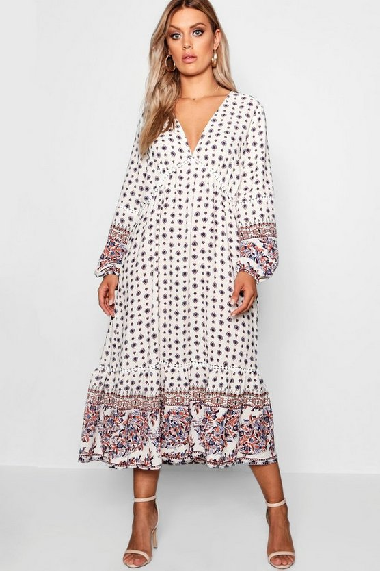 Plus Border Print Ruffle Hem Midi Dress