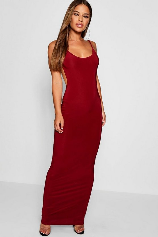 Petite Sadie Skinny Open Back Maxi Dress