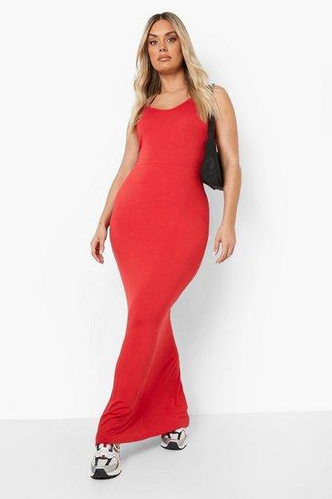 Red Plus Scoop Neck Maxi Dress