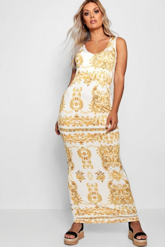 Plus Gemma Baroque Plunge Slinky Maxi Dress