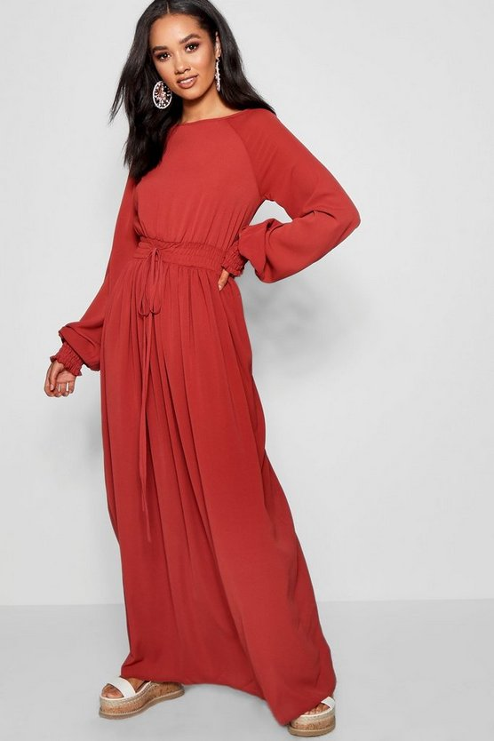 Petite Sia Shirred Waist And Cuff Maxi Dress by Boohoo