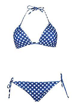 Plus Gingham Triangle Bikini Set