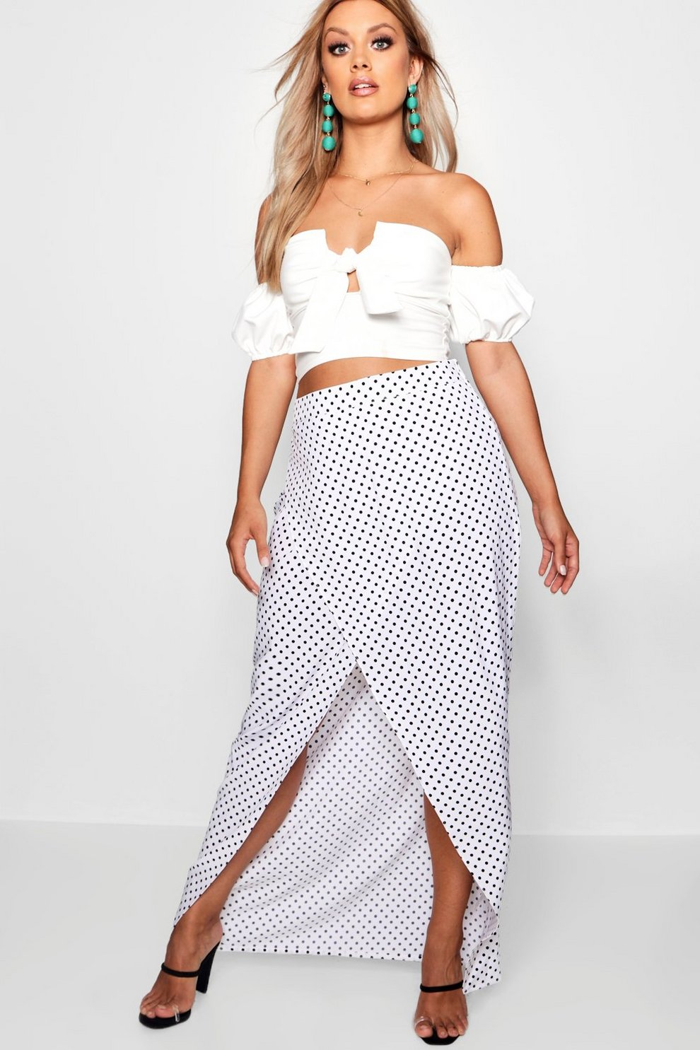 Discount Pay With Visa Cheap Sale Get Authentic Boohoo Plus Jess Spot Wrap Maxi Skirt Factory Sale Outlet Popular Where Can I Order a4jLaEswQ