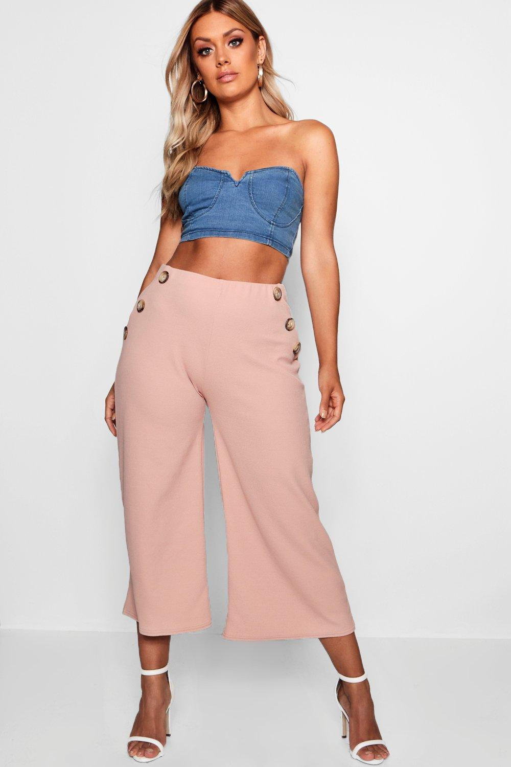 boohoo Plus Horn Button Front Culottes, Nude