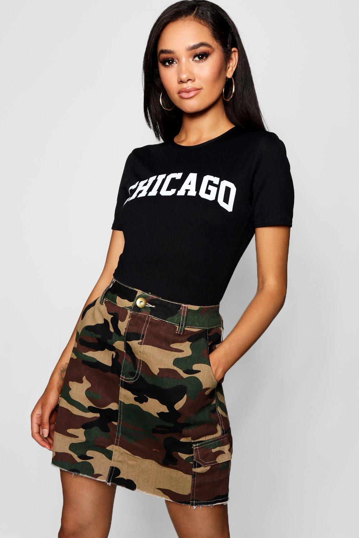 Womens Petite Abigail Chicago Slogan Tee Bodysuit - black - 38, Black - Boohoo.com