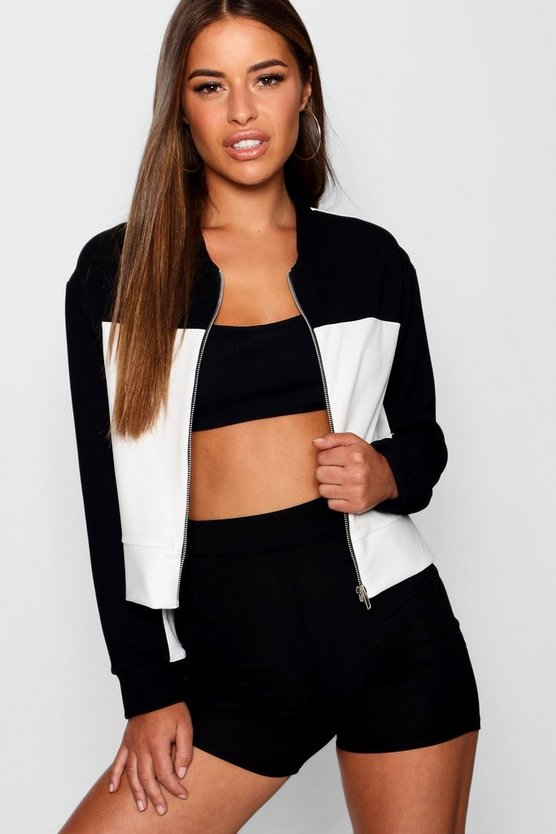Petite Alice Colour Block Bomber Jacket