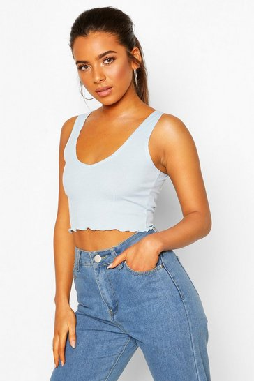 Pale blue Petite Amanda Lettuce Hem V Neck Crop Top