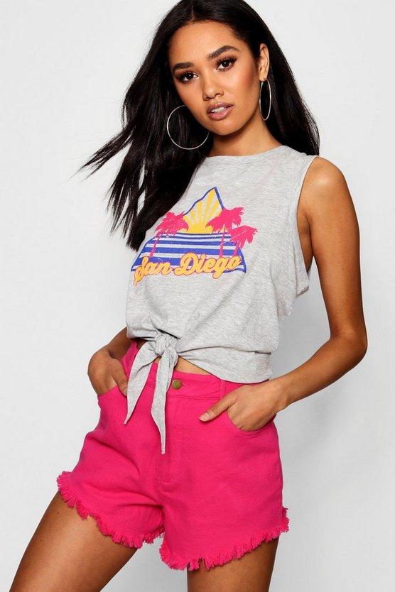 Petite Lola San Diego Slogan Vest by Boohoo