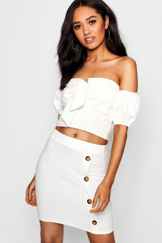 Petite Mock Horn Button Mini Skirt by Boohoo
