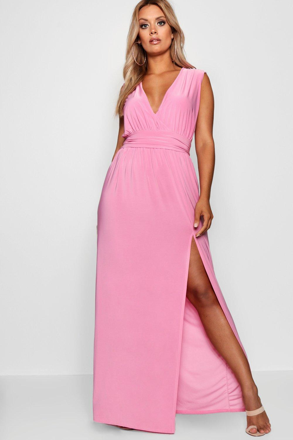 Boohoo Plus Cara Plunge Slinky High Split Maxi Dress Affordable ...