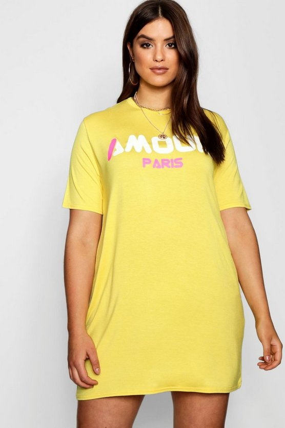 Plus Oliva Oversized Slogan T-Shirt Dress