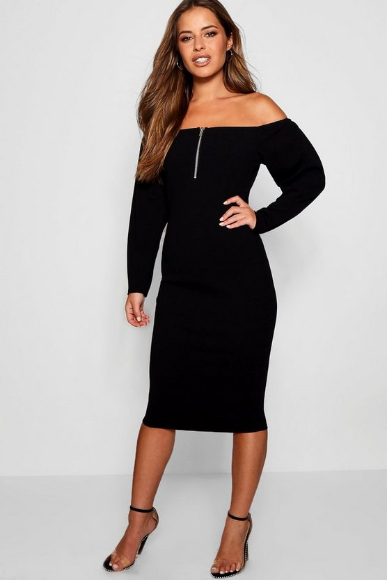 Petite Payton Long Sleeve Bardot O-Ring Midi Dress
