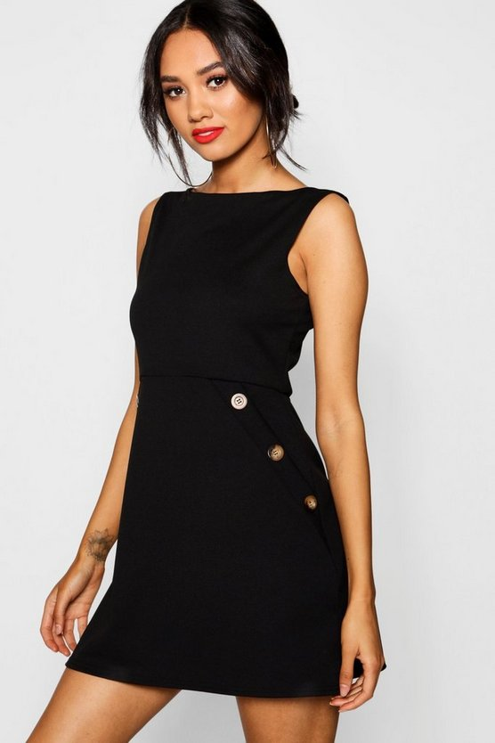 Petite Slash Neck Mock Horn Button Shift Dress