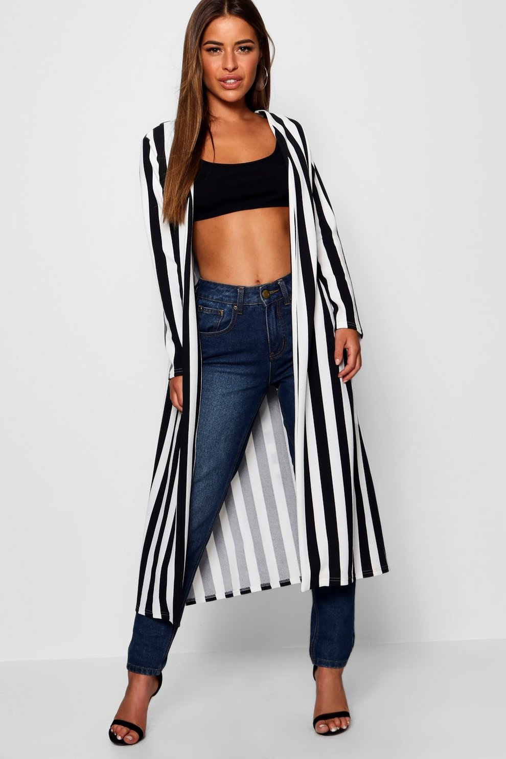 Buy Cheap Price Cost Cheap Online Boohoo Petite Contrast Stripe Belted Duster Cheap Real Outlet Fake Clearance Get To Buy gl0blLKBI