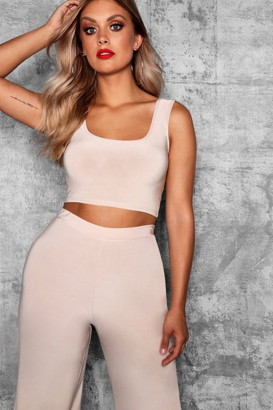 Plus Slinky Square Neck Crop Top