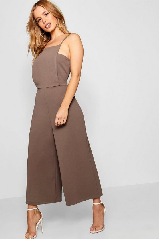 Petite Lina Square Neck Culotte Jumpsuit by Boohoo