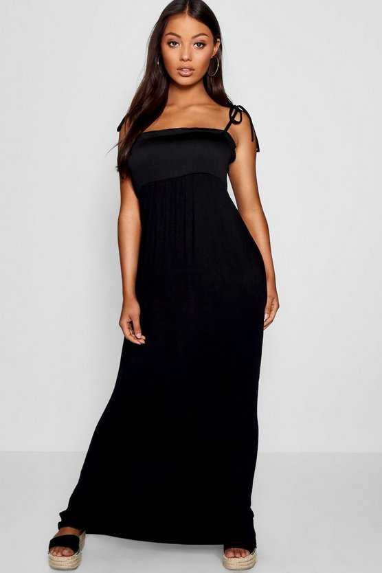 Petite Meg Shirred Bandeau Tie Strap Maxi Dress