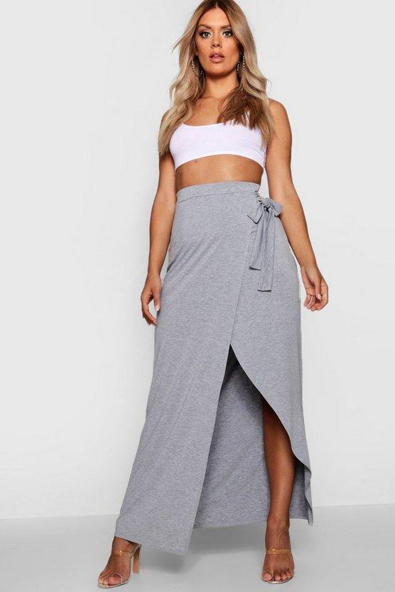 Plus Iris Wrap Maxi Skirt by Boohoo