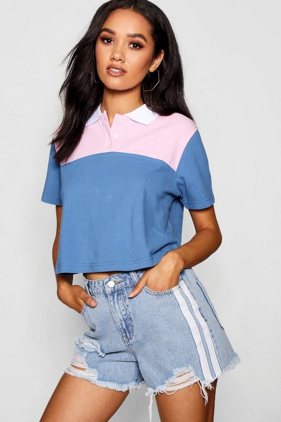 Petite Kelly Colour Block Crop Polo Shirt